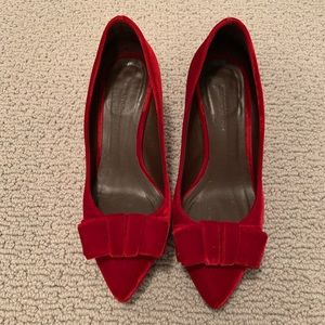 Bruno Magli Red Velvet Shoes low heels